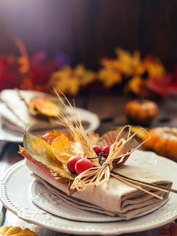 Herbstliche Tischdekoration zu Thanksgiving