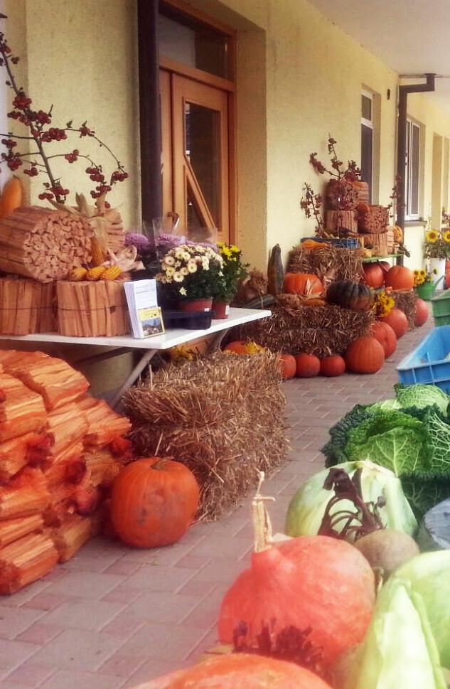Herbstlich dekorierter Hofladen
